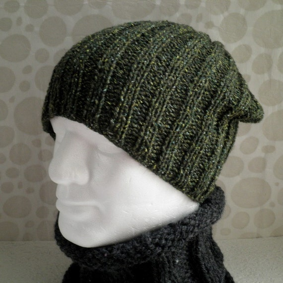 Knitting Patterns For Beanies With Straight Needles : KNITTING PATTERN/ SEATTLE Slouchy Ribbed Hat for by RomeoRomeo