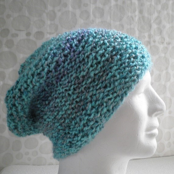 Knitting Patterns For Beginners Beanie : KNITTING PATTERN / OCEAN Mans Slouch Beanie Pattern / Easy