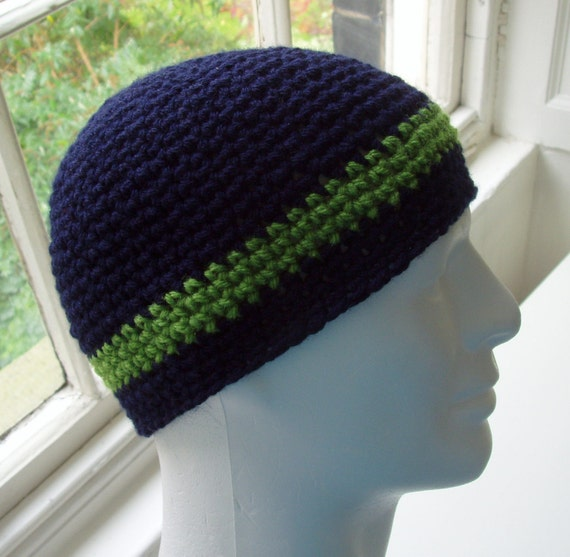 Jared  MANS STRIPED HAT in Navy Blue and Apple Green (Pattern available)