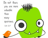 Monster and bird....Indeed, the hairs on your head are all numbered...Luke 12:7
