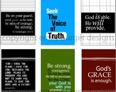 Scripture and encouragement for your mirror FOR THE GUYS. Includes suction hook. Start and end your day right.