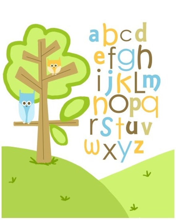 Forest Owls Alphabet 8 by 10 print