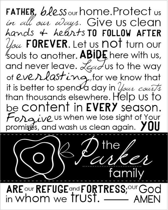 Personalized Family Prayer 8 by 10 print.