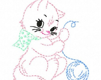 Baby Kitten Machine Embroidery Design 4x4