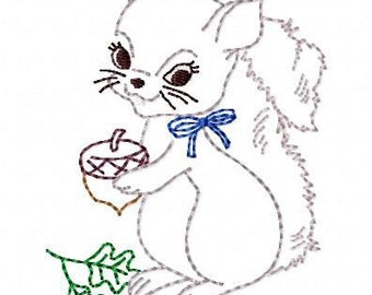 Baby Squirrel Machine Embroidery Design 4x4