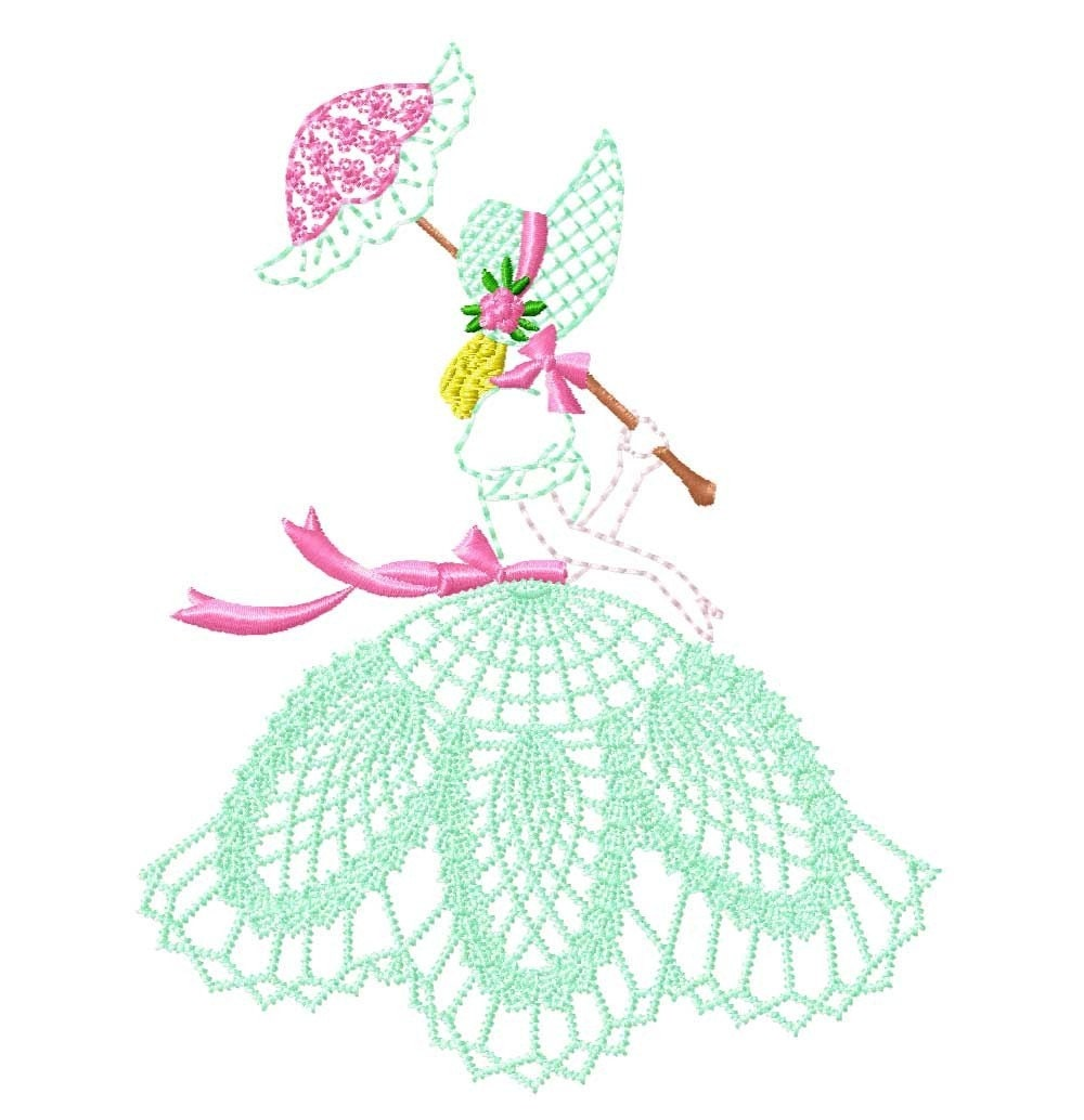 Stand Alone Lace Embroidery Designs : Belles with free standing lace skirts machine embroidery