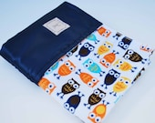 OWLS MINI BLANKET ......soft minky print with coordinating satin.... Adorable baby shower gift