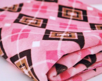 BABY MINI BLANKET / on clearance!!! Lovey size, pink and brown Argyle minky print with hot pink satin / baby gift add on