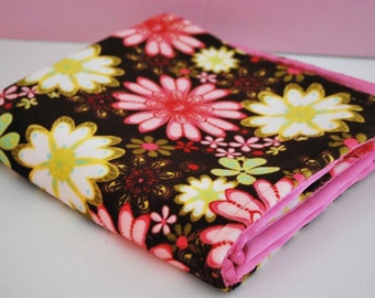 MINI BABY BLANKET / Lovey size , floral minky print with pink satin / soothing fabrics for baby