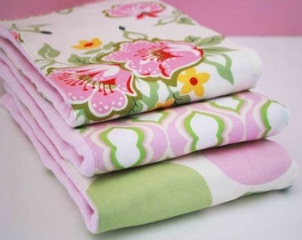 PINK CELERY..........SET OF (3) VERY ABSORBENT BURP CLOTHS.... COORDINATING PINKs and SAGE........CUTE BABY GIRL GIFT