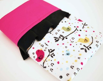 CLEARANCE SALE / Aviary minky print with hot pink satin and black trim / BABY mini Blanket / Cute baby gift