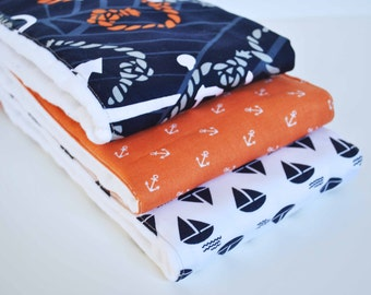 ANCHORS and SAILBOATS........ (3) very ABSORBENT 100% cotton baby burp cloths with coordinating fun cotton print......very useful gift
