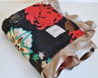 RUBY BABY BLANKET .......Bold  and beautiful floral satin print with minky and   trim...........Beautiful Baby blanket