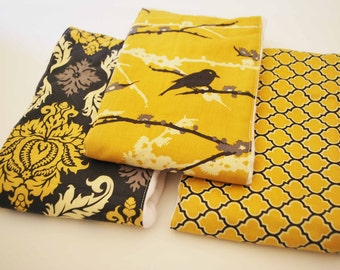 CLEARANCE SALE !!! / Mustard Aviary / 100% cotton baby burp cloths with coordinating fun cotton print......very useful gift