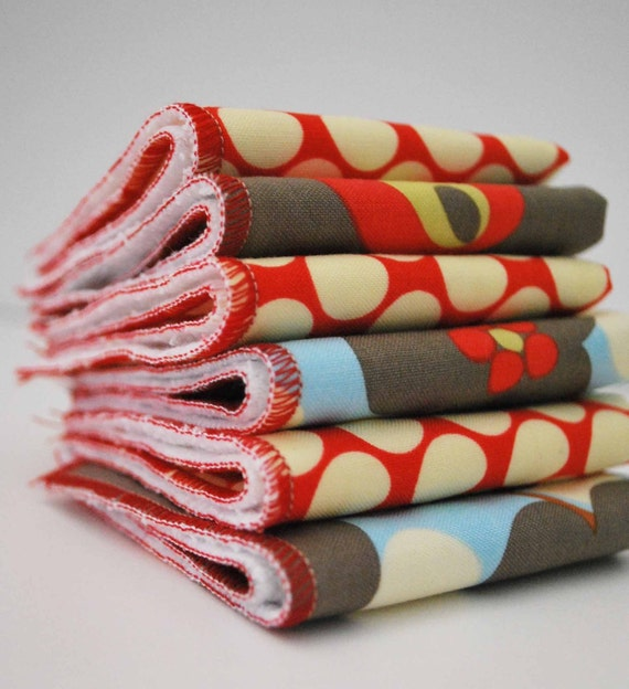RED  (6) PACK OF WASHCLOTHS OR CLOTH WIPES....GREEN PRODUCT FOR YOUR HOME.. reduce..reuse..recycle