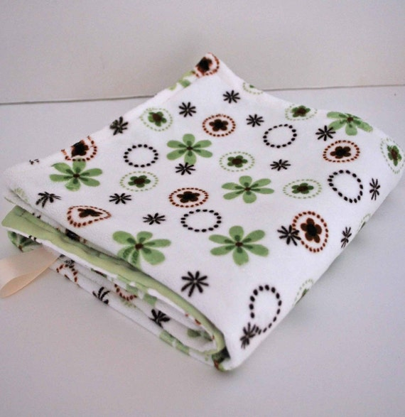 ON CLEARANCE.......BABY MINI BLANKET.....GREEN and BROWN SILKY  MINKY PRINT with SAGE SATIN  .......COMFORT FOR BOYS