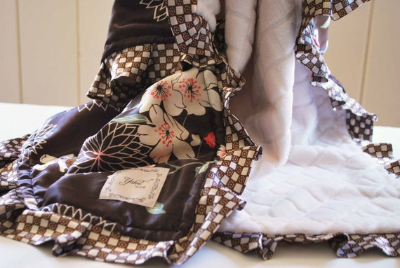 CLEARANCE SALE /  floral Satin pint with  Diamond embossed minky and  ooak ruffled trim.......Baby girl mini blanket
