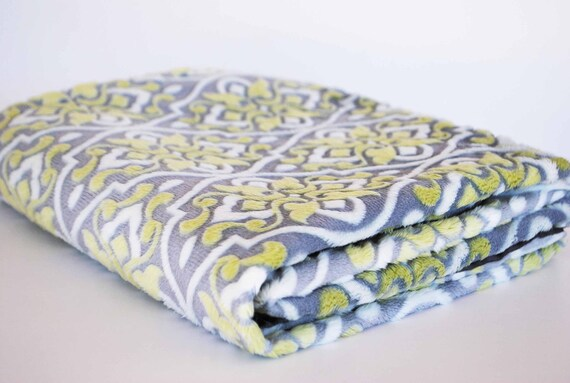 CLEARANCE SALE!! / Embossed green apple and gray minky with silver satin baby blanket..........Comforting fabrics for baby