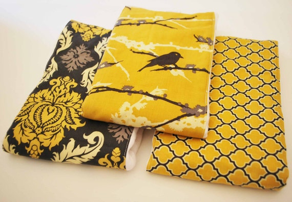 MUSTARD AVIARY........ (3) very ABSORBENT 100% cotton baby burp cloths with coordinating fun cotton print......very useful gift