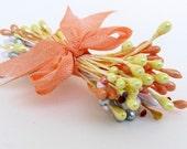 SALE Vintage Stamen Group Peach Yellow