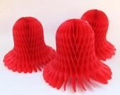 SALE Vintage Red Honeycomb Bell Set of 3