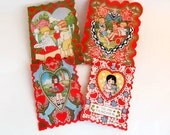 Vintage Valentines Day Greeting Card Lot of 4 Children Love