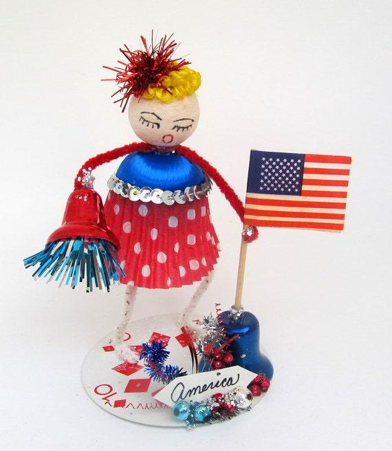 SALE  July Fourth Decoration Vintage Style Gal Spun Cotton Head