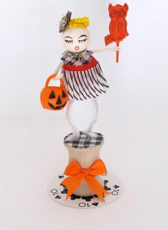 SALE Vintage Style Spun Cotton Halloween Girl Decoration