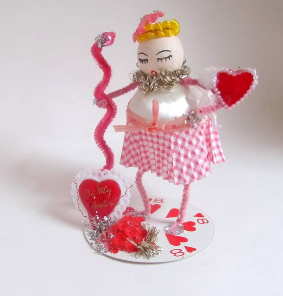 SALE Sweet Pink Valentine Girl  Vintage Style Spun Cotton Head Decoration