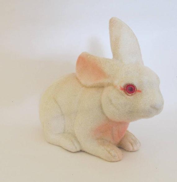 SALE Vintage Flocked Bunny Rabbit Bank