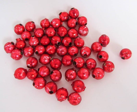 SALE Vintage Mercury Glass Garland Beads Lot of 50 Red Beads
