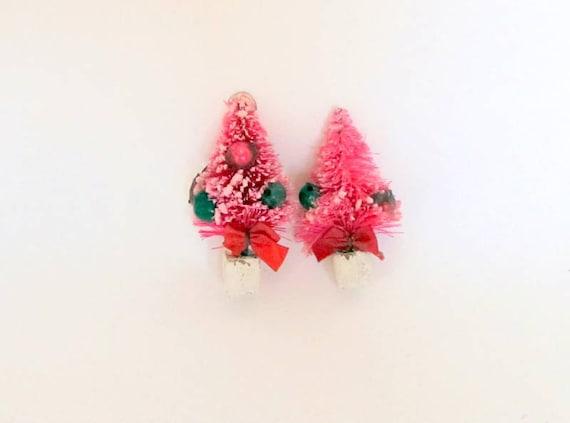 SALE Small Mini Bottlebrush Christmas Tree Set of 2 Pink Christmas Decoration Package Tie On