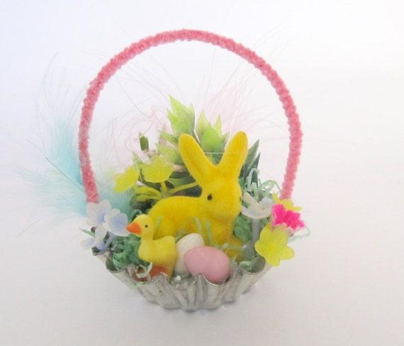 SALE Vintage Easter Basket Vintage Inspired Goodies with Flocked Deer