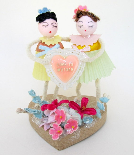 Mother's Day Gift Decoration Spun Cotton Figures Two Girls Love Mom