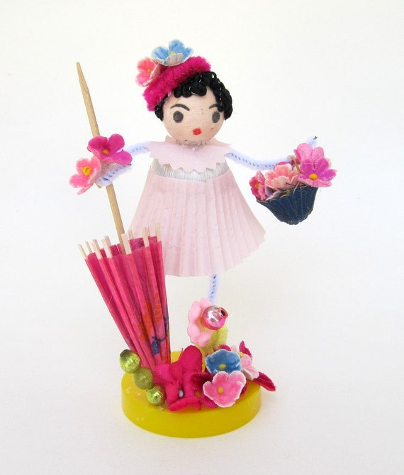 Spring Spun Cotton Gal May Day Mother's Day Decoration or Gift