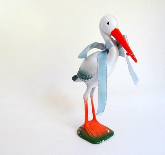 SALE Vintage Miniature Stork Plastic Baby Shower Decor