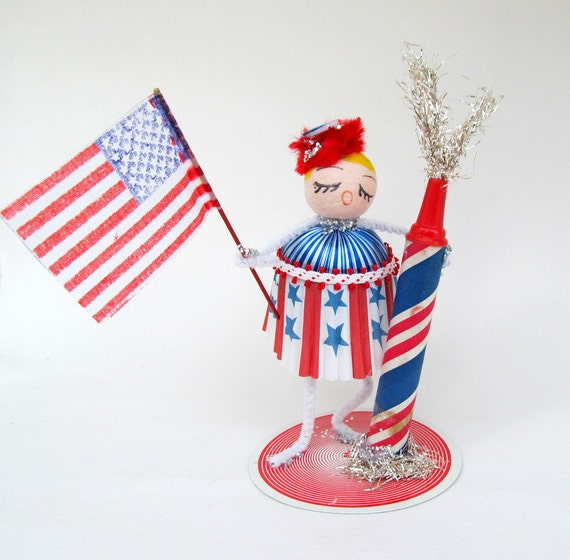 SALE Vintage Patriotic Girl July 4th Red White and Blue Spun Cotton Fireworks American Flag
