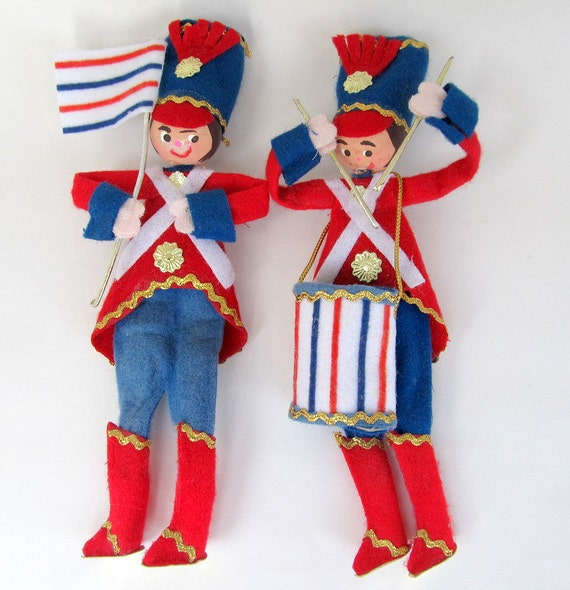 Vintage Patriotic Soldiers Drummer Boy Ornaments Set of 2 July 4th Decoration