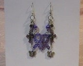 Lavender Cross and Butterfly, Crystal Awareness Ribbon Earrings