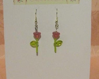 Pink Flower, Green Leaf, Silver Tone Earrings