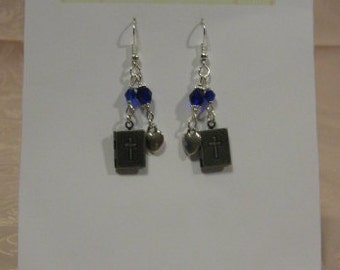 Pewter Bible Locket and Navy Blue Crystal Earrings