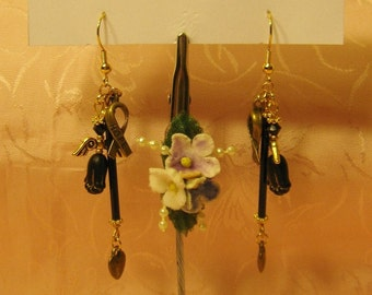 Brass and Black Hearts, Hope Ribbon and Tulip Angel, Earrings