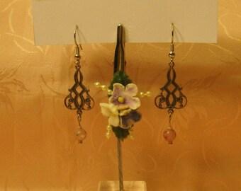 Silver tone  Filigree and Vintage Pink Rose Encased Bead Earrings