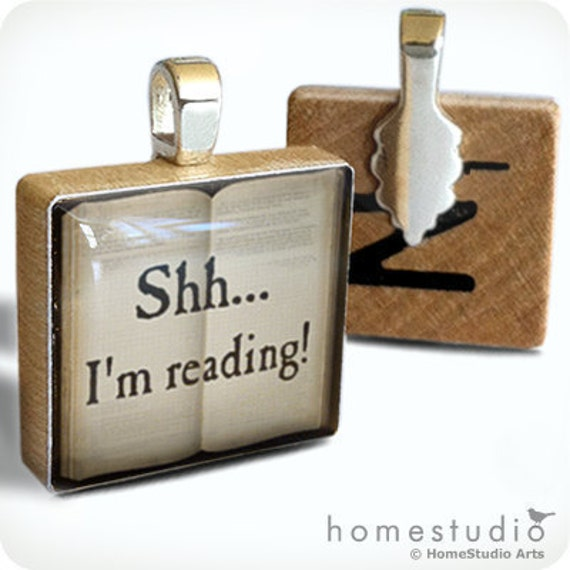 Shh I'm Reading - necklace Charm handmade with Scrabble Wood Tile ... Jewelry Art by HomeStudio