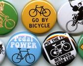 BICYCLING 7 pins/buttons cyclist/messenger/bag/bike/bmx
