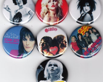 The Women of Rock 7 one inch pinback/badges/buttons  80s rock and roll riot grrl