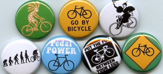 BICYCLING 7 pins/buttons cyclist/messenger/bag/bike/bmx