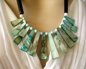 Seashell Statement Necklace Aqua Necklace Green Necklace Beach Wedding Jewelry Bridal Handmade Artisan Jewellery Go2Girl Designs Kila Rohner