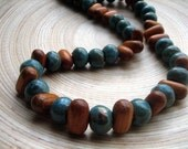 Bohemian Chunky Statement Necklace Chic Wood Ceramic Mint Cocoa Brown Beaded Necklace Handmade Jewelry Rustic Copper Jewelry Handcrafted