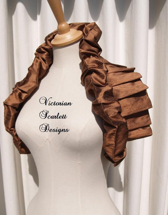 Brown silk couture shoulder wrap Victorian inspired multi wearable loose collar evening wear handmade by Victorian Scarlett Designs SB007